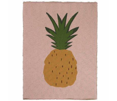 Ferm Living kids Kinderdeken Pineapple ananas roze bruin katoen 80x100cm