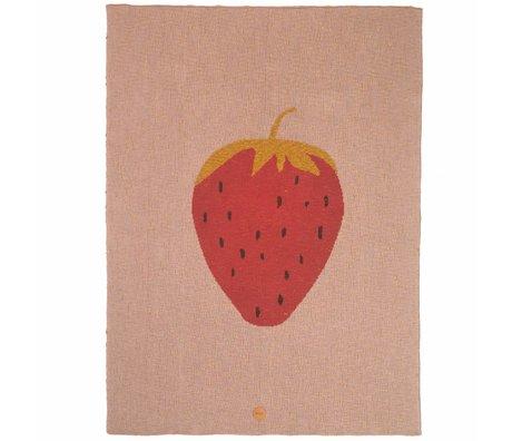 Ferm Living kids Kinderdeken strawberry aardbei roze katoen 80x100cm