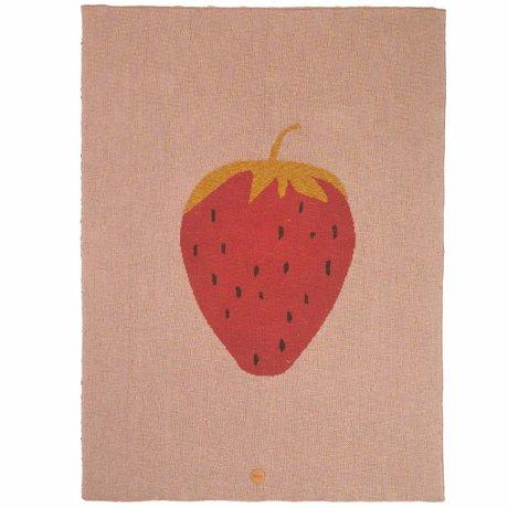 Ferm Living Kinderdeken strawberry aardbei roze katoen 80x100cm