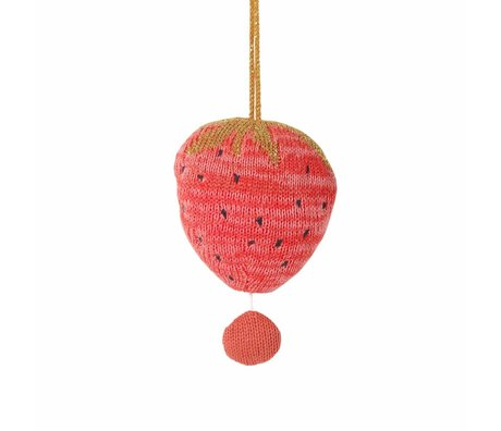 Ferm Living kids Mobile with music fruiticana strawberry cotton ø9cm