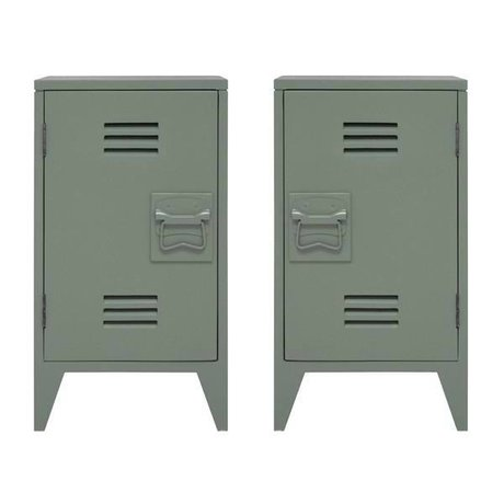 HK-living Kindernachtkastje locker set van 2 leger groen hout 65x36x33cm