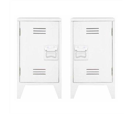 HK-living Kindernachtkastje locker set van 2 wit hout 65x36x33cm