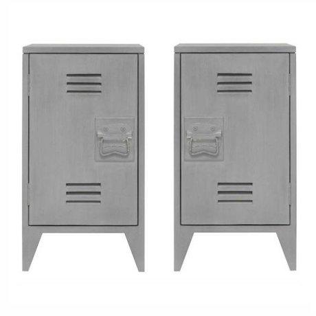 HK-living Kindernachtkastje locker set van 2 grijs hout 65x36x33cm
