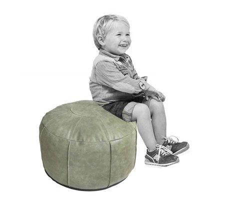 HK-living Kids pouf rustic leather army green 50x50x30cm