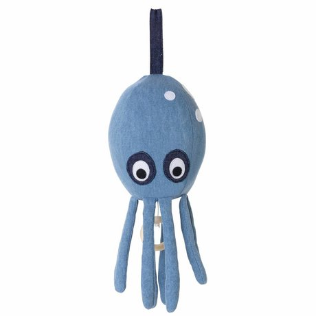 Ferm Living kids Muziekmobiel Octopus blauw katoen 30x12cm
