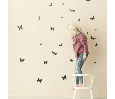 Ferm Living kids Wall stickers Butterfly black 31 pieces