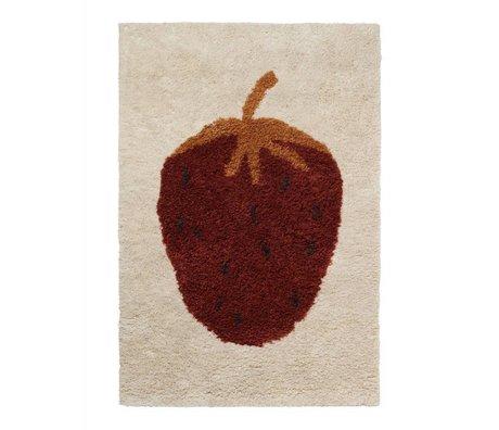 Ferm Living kids Vloerkleed kinderkamer Fruiticana Strawberry multicolor textiel L 180x120cm