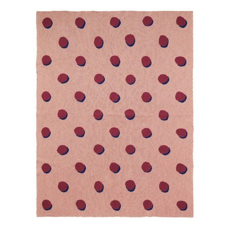 Ferm Living kids Children's blanket Double Dot pink bordeaux textile 160x120cm