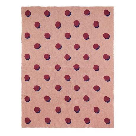 Ferm Living kids Kinderdeken Double Dot roze bordeaux textiel 160x120cm