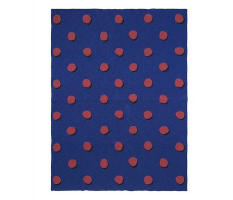 Ferm Living kids Children's blanket Double Dot blue red textile 160x120cm