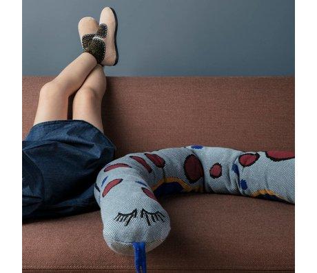 Ferm Living kids Kinderkussen Fruiticana snake blauw katoen 180cm