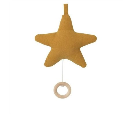 Ferm Living kids Music mobile Star ocher yellow cotton 14x10cm