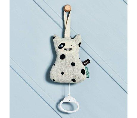 OYOY Mobile met muziek Cat zwart-wit katoen 17x12cm