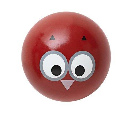 Ferm Living kids Wandhaakje 'Owl Hook' rood hout ø5cm