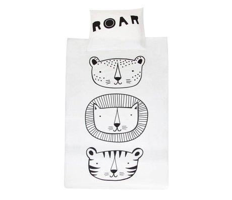 A Little Lovely Company Children's duvet cover Duvet Roar black white cotton 140x200 cm incl pillowcase 60x70cm