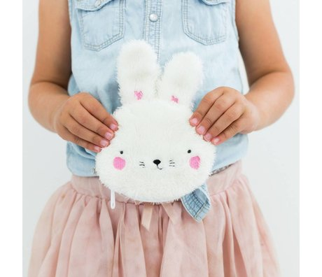 A Little Lovely Company Kinderportemonnee Fluffy bunny wit acryl 12x15x2cm