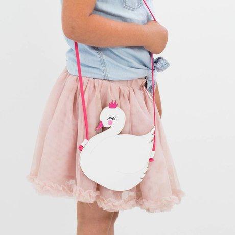 A Little Lovely Company Kindertasje Little Swan wit roze acryl 16x17.5x0.3cm
