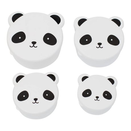A Little Lovely Company Kinderbroodtrommel snack box Panda zwart wit kunststof set van 4
