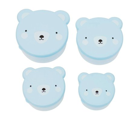 A Little Lovely Company Kinderbroodtrommel snack box Bear blauw kunststof set van 4