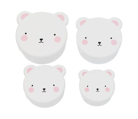 A Little Lovely Company Children's bread box snack box Bear white pink plastic set of 4