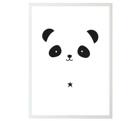 A Little Lovely Company Kinderposter Panda wit zwart papier 50x70cm