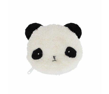 A Little Lovely Company Wallet Fluffy panda black white acrylic 12.5x11x2cm