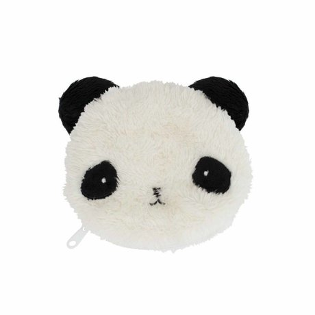 A Little Lovely Company Kinderportemonnee Fluffy panda zwart wit acryl 12.5x11x2cm