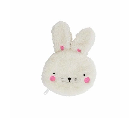 A Little Lovely Company Kinderportemonnee Fluffy bunny wit acryl 12x15x2cm
