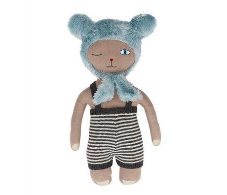 OYOY Knuffel Hopsi Bear blauw 43x25cm