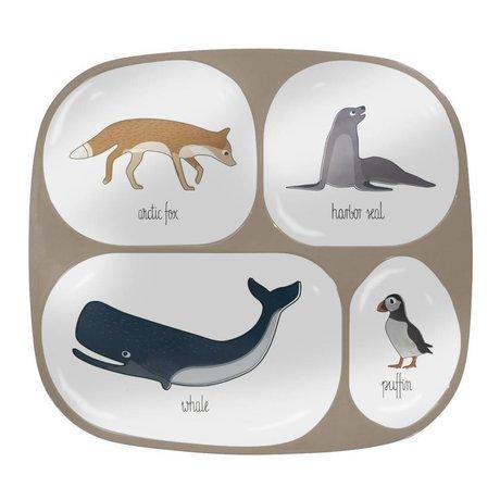 Sebra Children's Arctic animals four squares light brown melamine 24x21x2cm