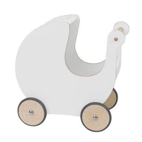Sebra Poppenwagen wit hout 45x25x44cm