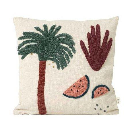 Ferm Living kids Sierkussen Palm creme katoen canvas 40x40cm