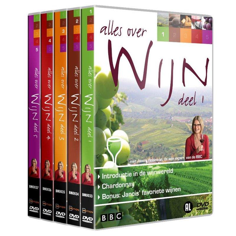 DVD Alles over Wijn - deel 1, 2, 3, 4 en 5
