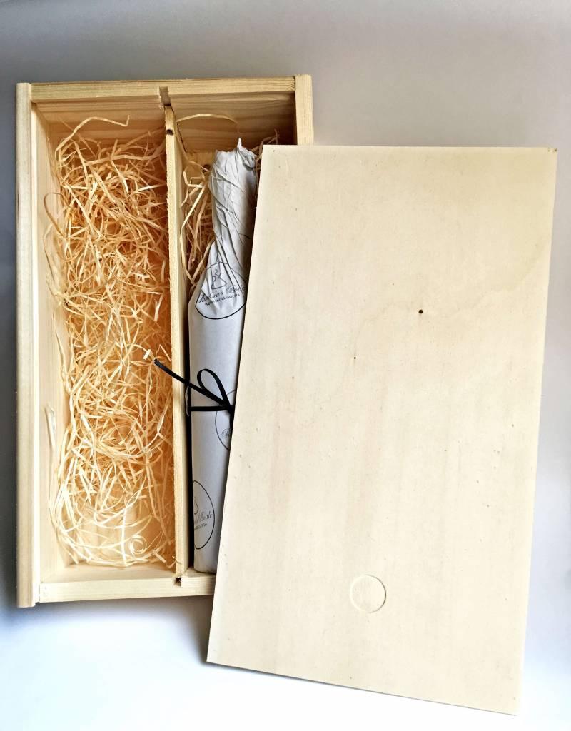 2-vaks houten wijnkist, schuifdeksel