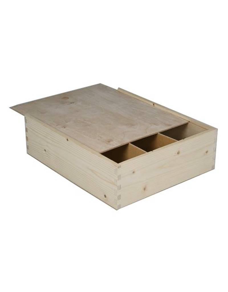 3-vaks houten kist, schuifdeksel