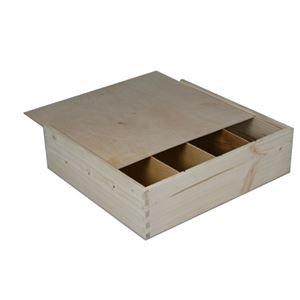 4-vaks houten kist, schuifdeksel