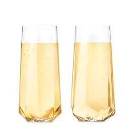 Viski Raye™ Faceted Crystal Champagne Glass (Set of 2) by Viski