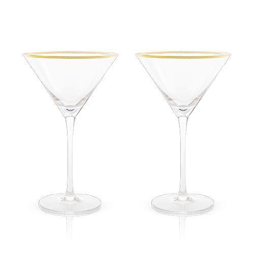 Viski Belmont™ Gold & Crystal Martini Glasses (Set of 2) by Viski