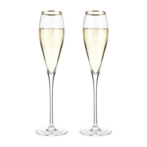 Viski Belmont™ Gold Rimmed Crystal Champagne Flutes (Set of 2) by Viski