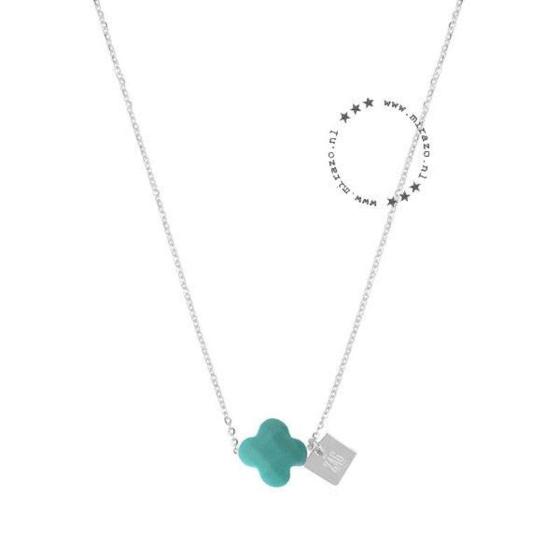 ZAG bijoux ZAG ketting klavertje turquoise zilver