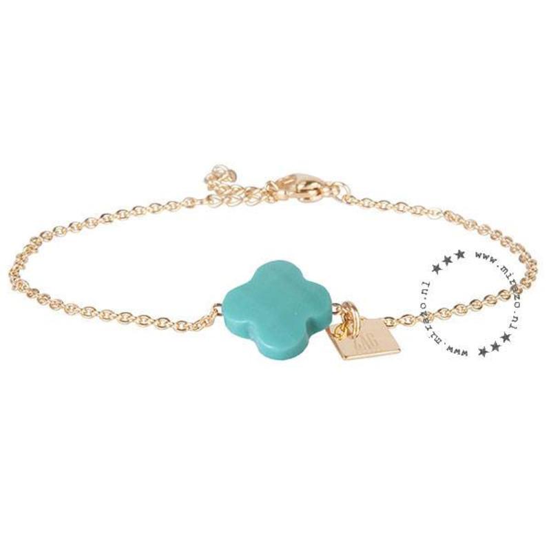 ZAG bijoux ZAG armband klaver turquoise goud
