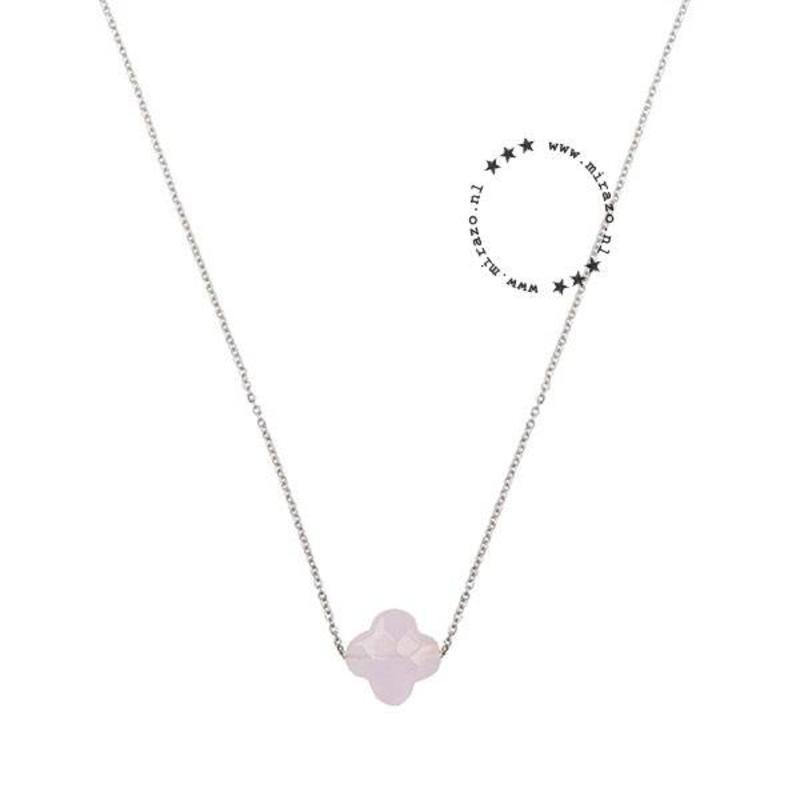 ZAG bijoux ZAG ketting klavertje roze zilver