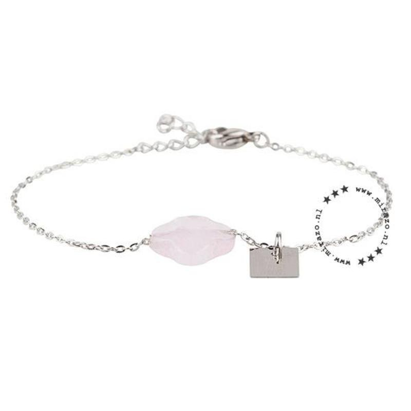 ZAG Bijoux  ZAG armband klaver roze zilver