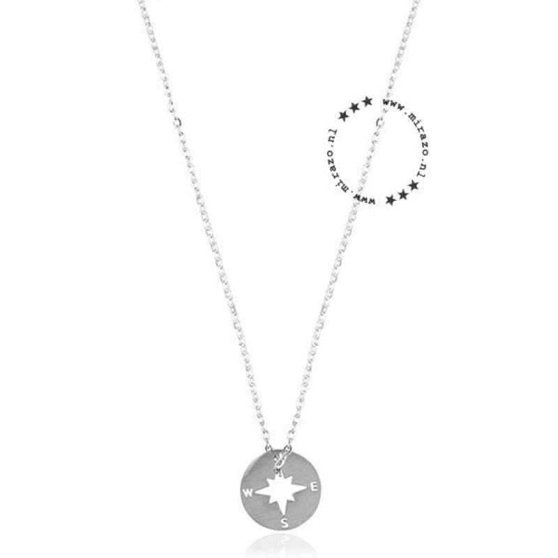 ZAG Bijoux  ZAG ketting kompas rond zilver