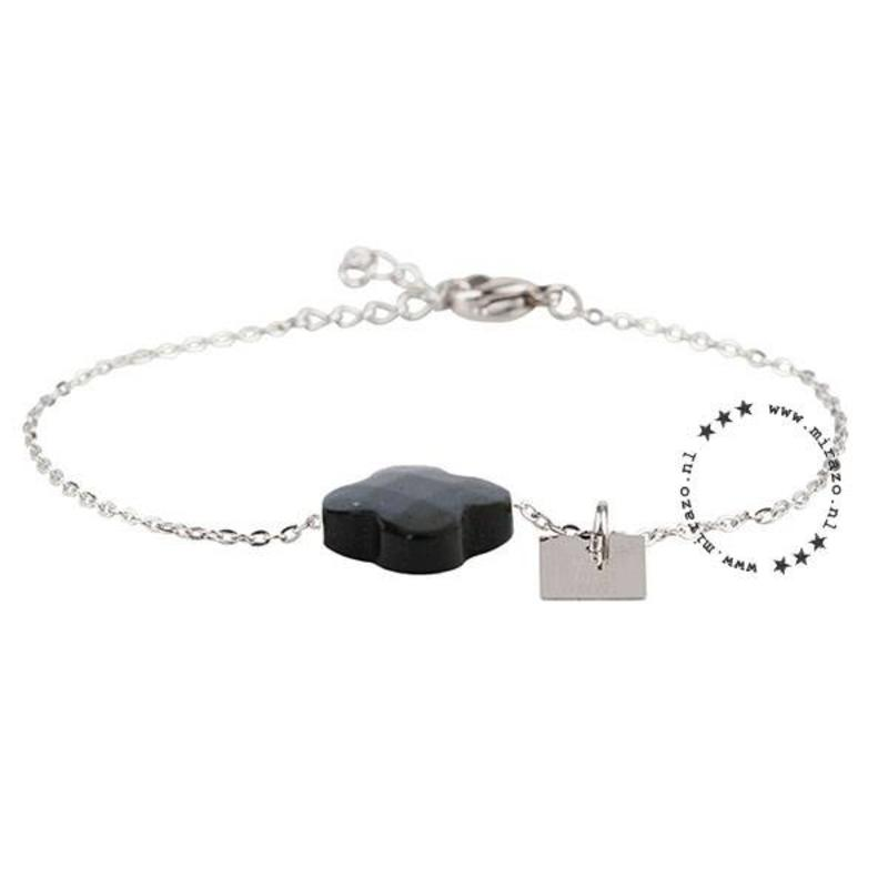 ZAG Bijoux  ZAG armband klaver zwart zilver