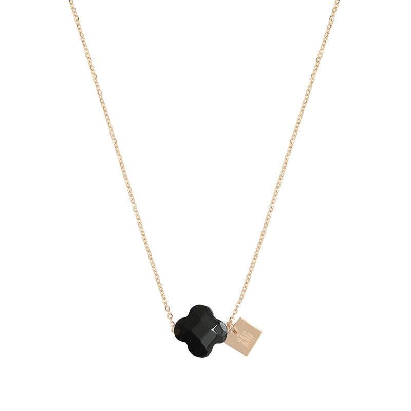 ZAG Bijoux  ZAG ketting klavertje zwart goud