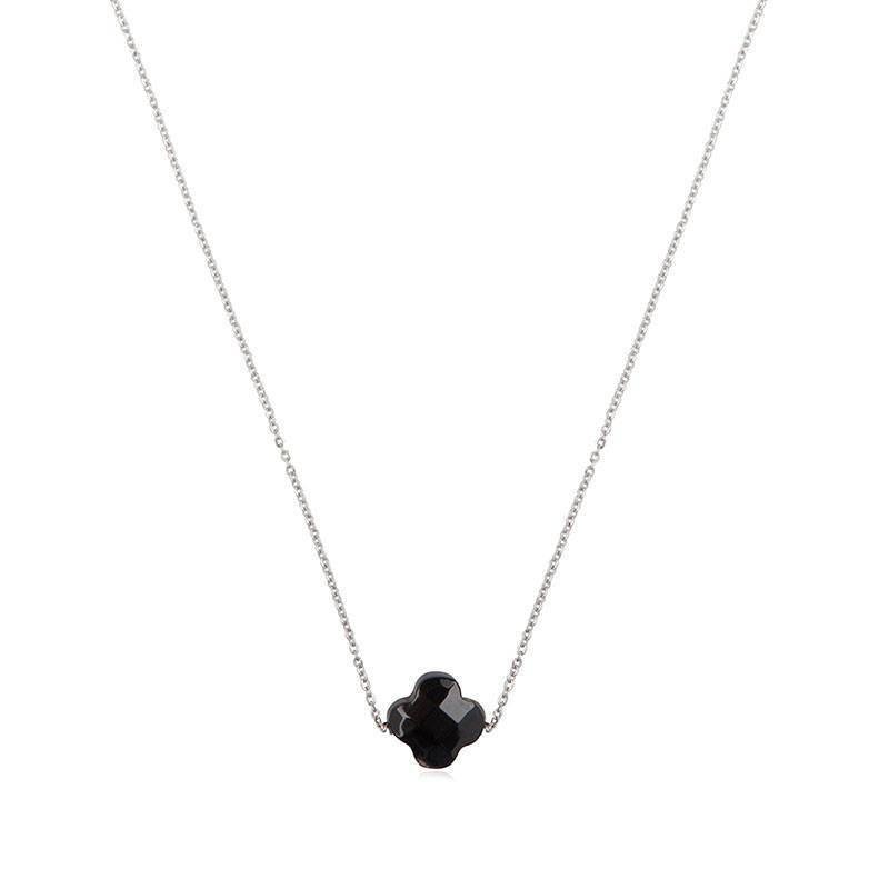 ZAG bijoux ZAG ketting klavertje zwart zilver