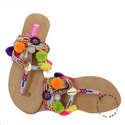 Hot Lava slippers Brasil mirror & pompom