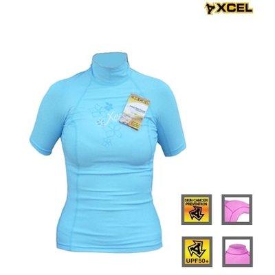 Xcel - women Lycra ss flower blue