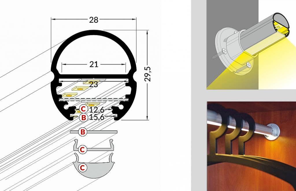 Obar 20mm ovaal garderobe led profiel 1m 2m for Garderobe 2m